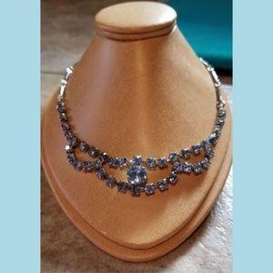 Sky Blue Rhinestone Prom / Bridal Vintage Necklace